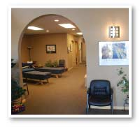 Reception and Treatment room at Vital Link Chiropractic in Fort Collilns